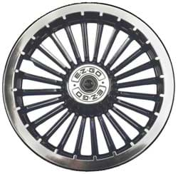"Picture of Black & chrome turbine style wheel cover. 8""."