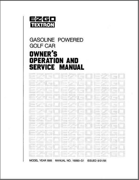 Picture of MANUAL-SVC-GAS 1985